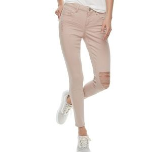 Junior SO Blush Color Low Rise Twill Jeggings